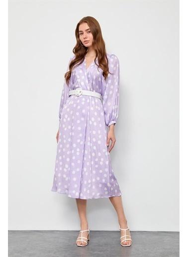 Setre Mavi Puantiyeli V Yaka Elbise Lila